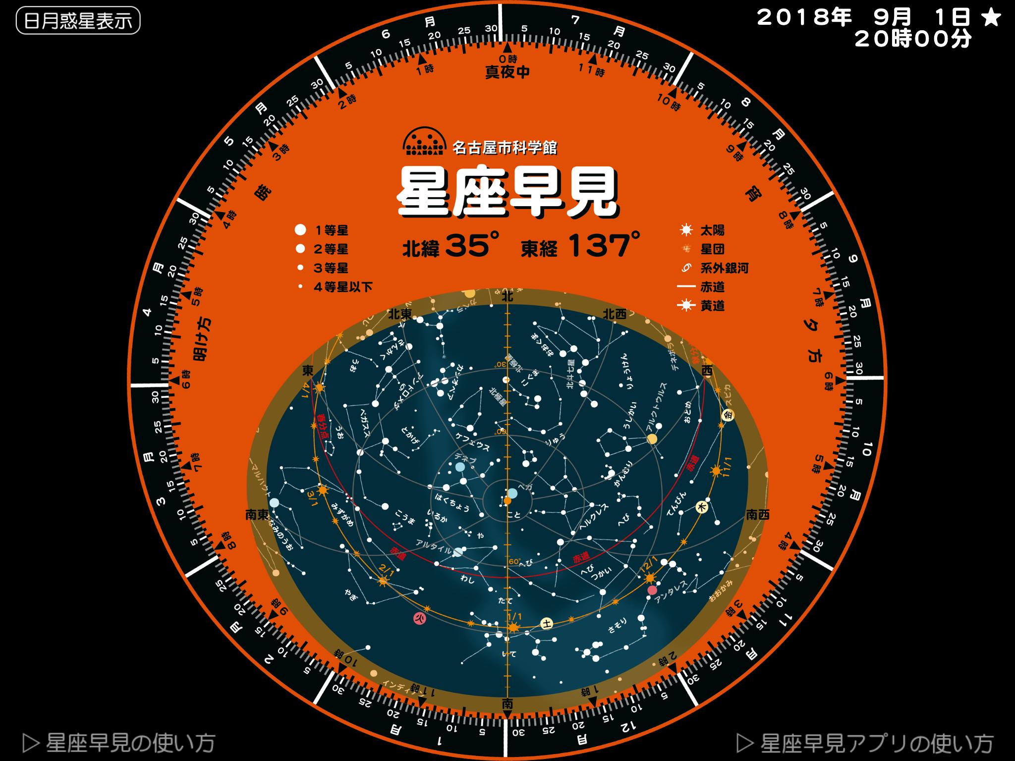 名古屋市科学館 | 科学について調べる | 天文情報 | | 星座早見